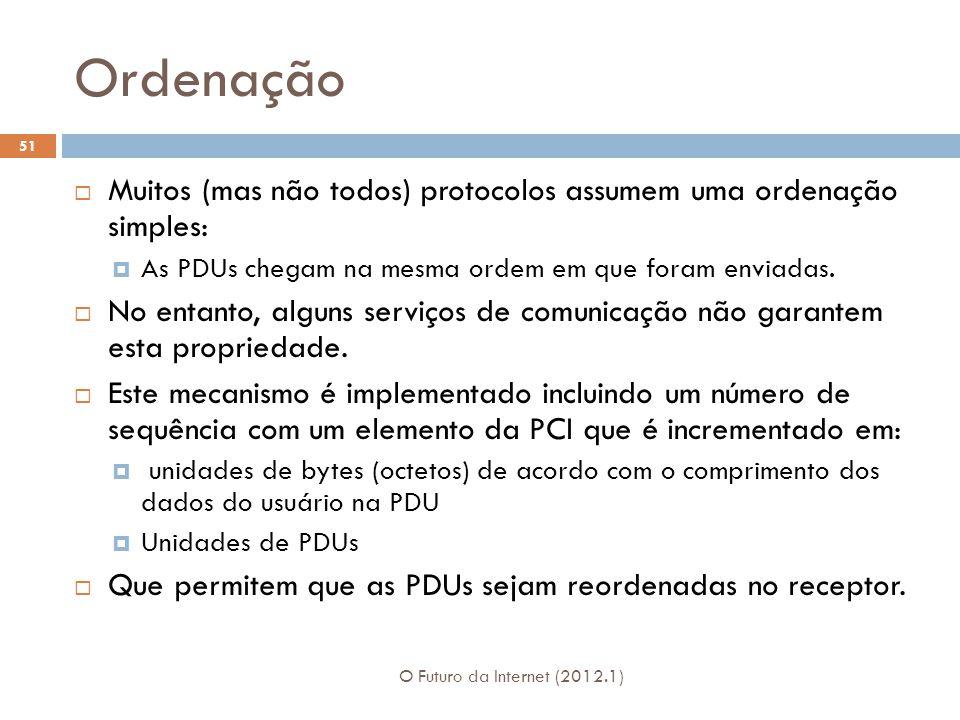 Ordenação O Futuro da Internet (2012.1) 51 Muitos (mas não todos) protocolos assumem uma ordenação simples: As PDUs chegam na mesma ordem em que foram