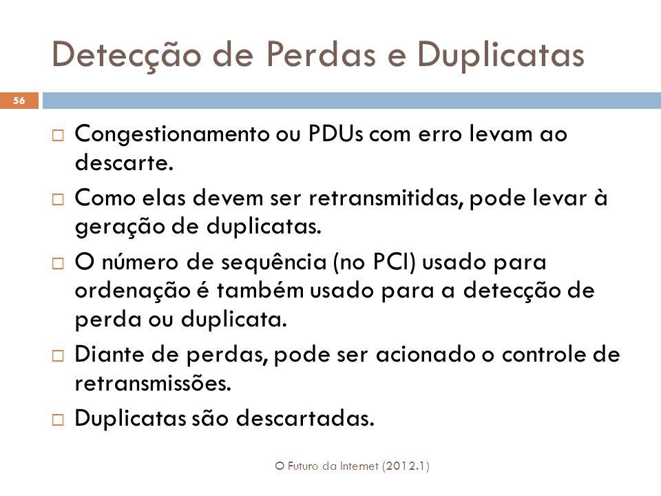 Detecção de Perdas e Duplicatas O Futuro da Internet (2012.1) 56 Congestionamento ou PDUs com erro levam ao descarte. Como elas devem ser retransmitid