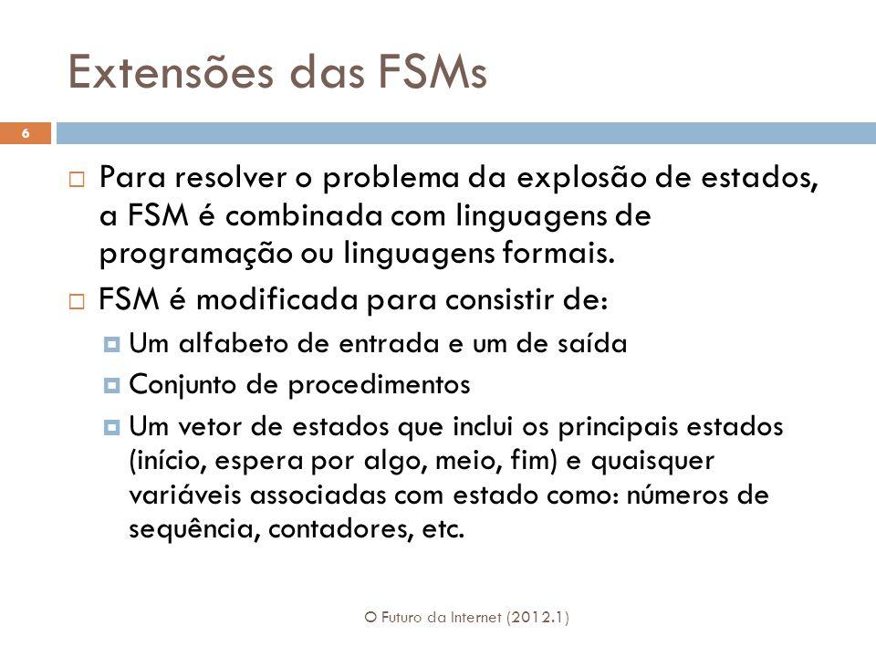 Extensões das FSMs O Futuro da Internet (2012.1) 6 Para resolver o problema da explosão de estados, a FSM é combinada com linguagens de programação ou