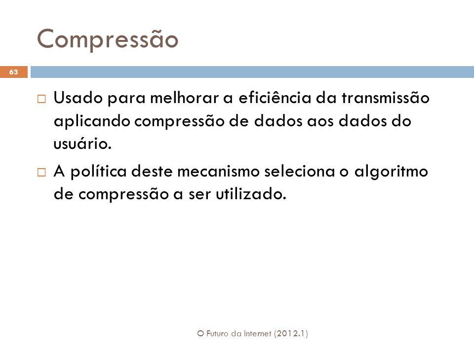Compressão O Futuro da Internet (2012.1) 63 Usado para melhorar a eficiência da transmissão aplicando compressão de dados aos dados do usuário. A polí