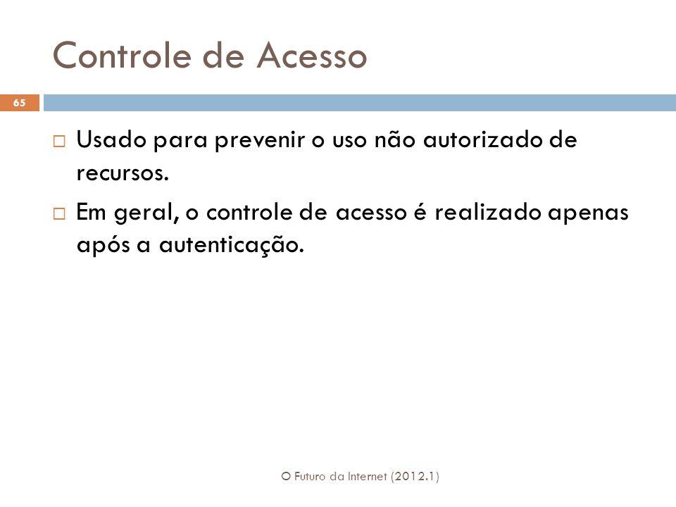 Controle de Acesso O Futuro da Internet (2012.1) 65 Usado para prevenir o uso não autorizado de recursos. Em geral, o controle de acesso é realizado a