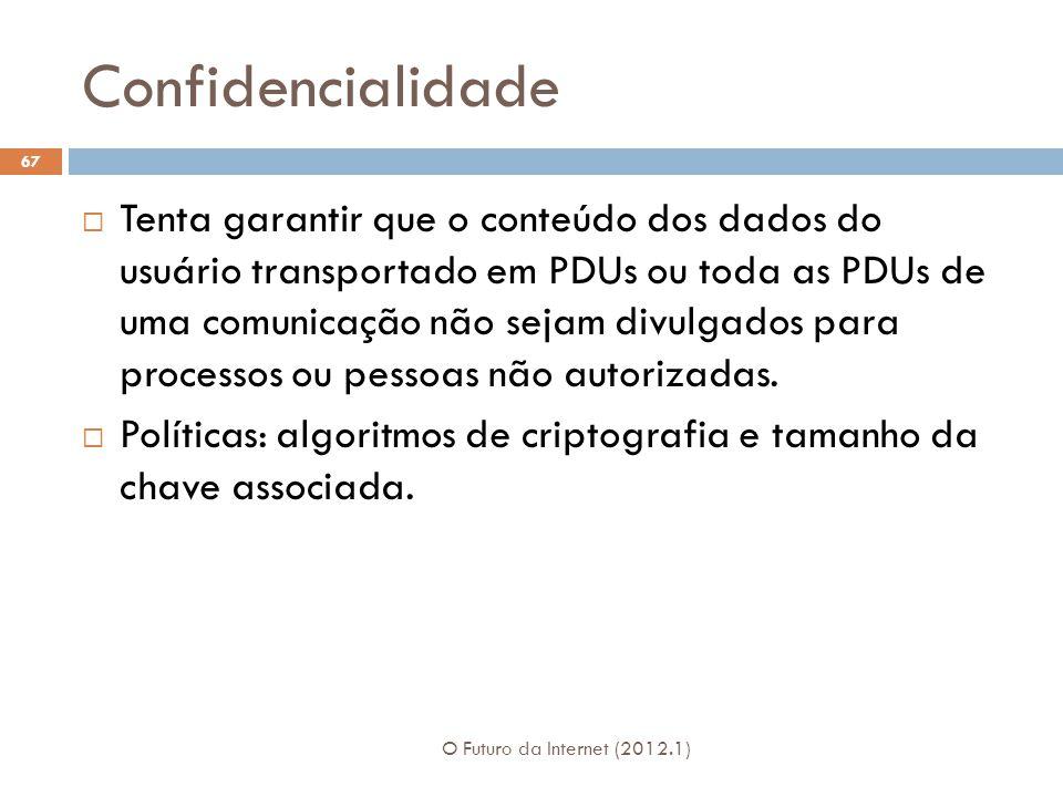 Confidencialidade O Futuro da Internet (2012.1) 67 Tenta garantir que o conteúdo dos dados do usuário transportado em PDUs ou toda as PDUs de uma comu