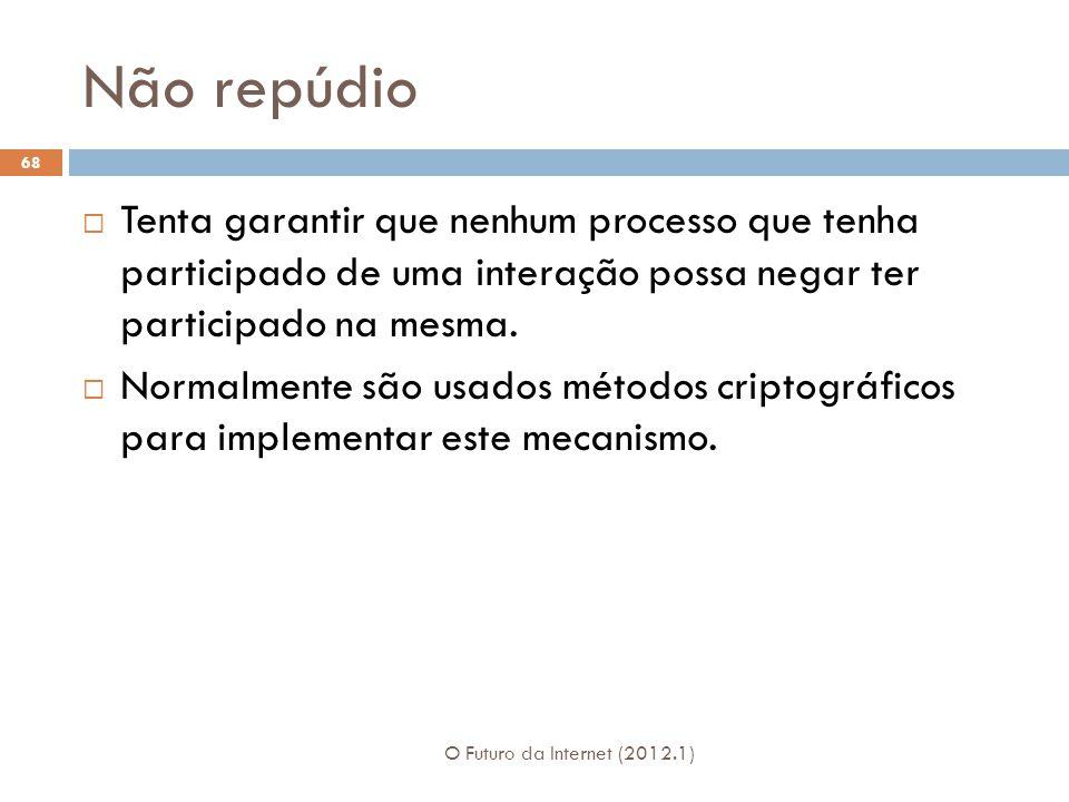 Não repúdio O Futuro da Internet (2012.1) 68 Tenta garantir que nenhum processo que tenha participado de uma interação possa negar ter participado na