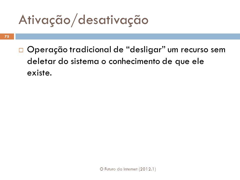 Ativação/desativação O Futuro da Internet (2012.1) 75 Operação tradicional de desligar um recurso sem deletar do sistema o conhecimento de que ele exi