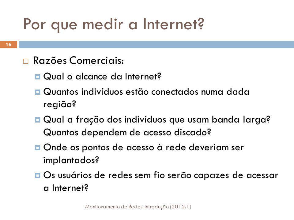 Por que medir a Internet? Razões Comerciais: Qual o alcance da Internet? Quantos indivíduos estão conectados numa dada região? Qual a fração dos indiv
