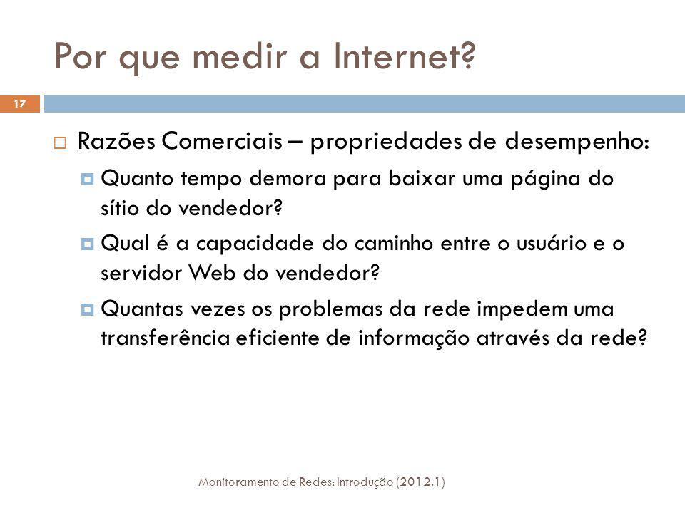 Por que medir a Internet? Razões Comerciais – propriedades de desempenho: Quanto tempo demora para baixar uma página do sítio do vendedor? Qual é a ca