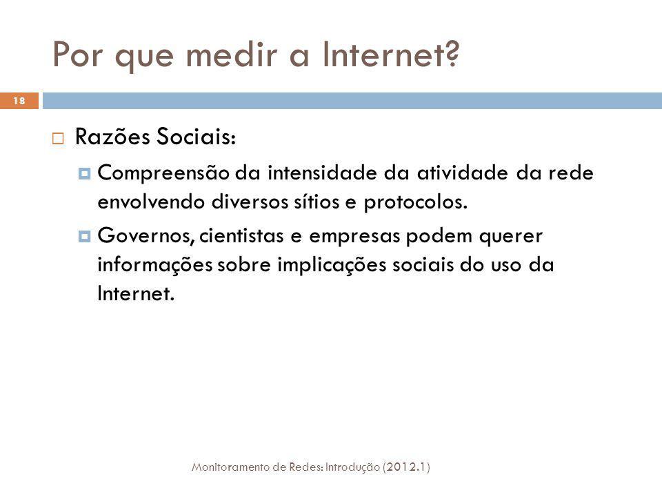Por que medir a Internet? Razões Sociais: Compreensão da intensidade da atividade da rede envolvendo diversos sítios e protocolos. Governos, cientista