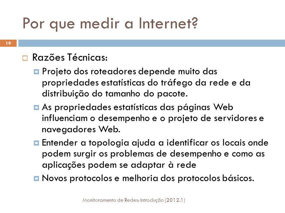 Por que medir a Internet? Razões Técnicas: Projeto dos roteadores depende muito das propriedades estatísticas do tráfego da rede e da distribuição do