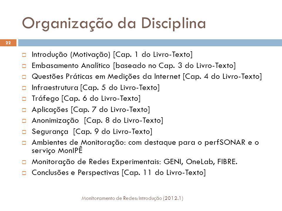 Organização da Disciplina Monitoramento de Redes: Introdução (2012.1) 22 Introdução (Motivação) [Cap. 1 do Livro-Texto] Embasamento Analítico [baseado