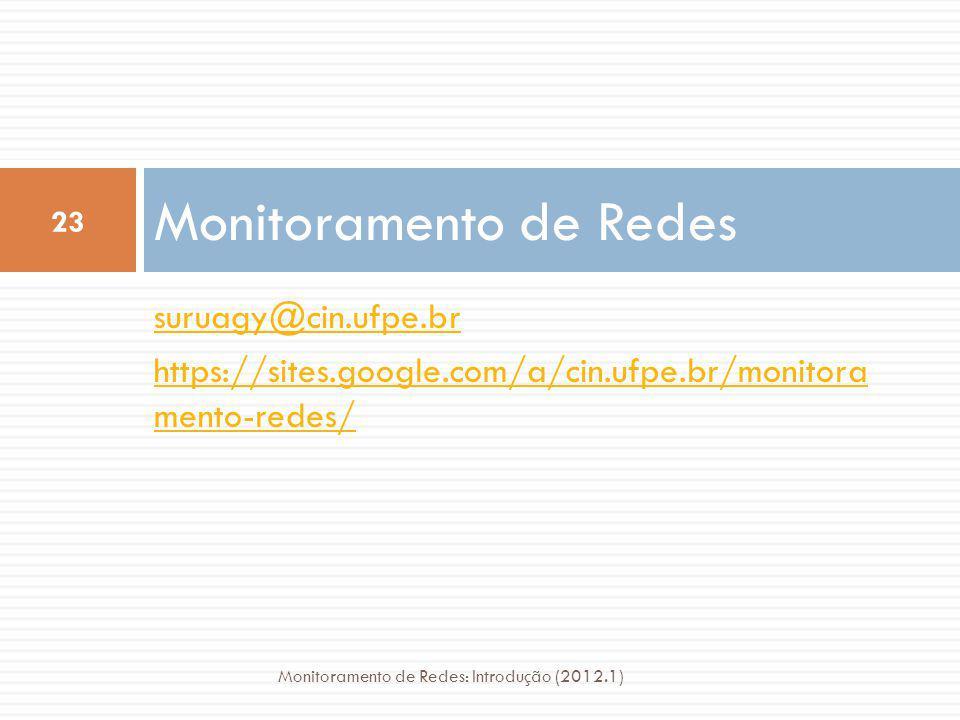 suruagy@cin.ufpe.br https://sites.google.com/a/cin.ufpe.br/monitora mento-redes/ Monitoramento de Redes 23 Monitoramento de Redes: Introdução (2012.1)