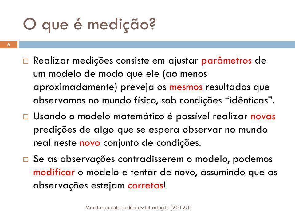 O que é medição? Monitoramento de Redes: Introdução (2012.1) 3 Realizar medições consiste em ajustar parâmetros de um modelo de modo que ele (ao menos