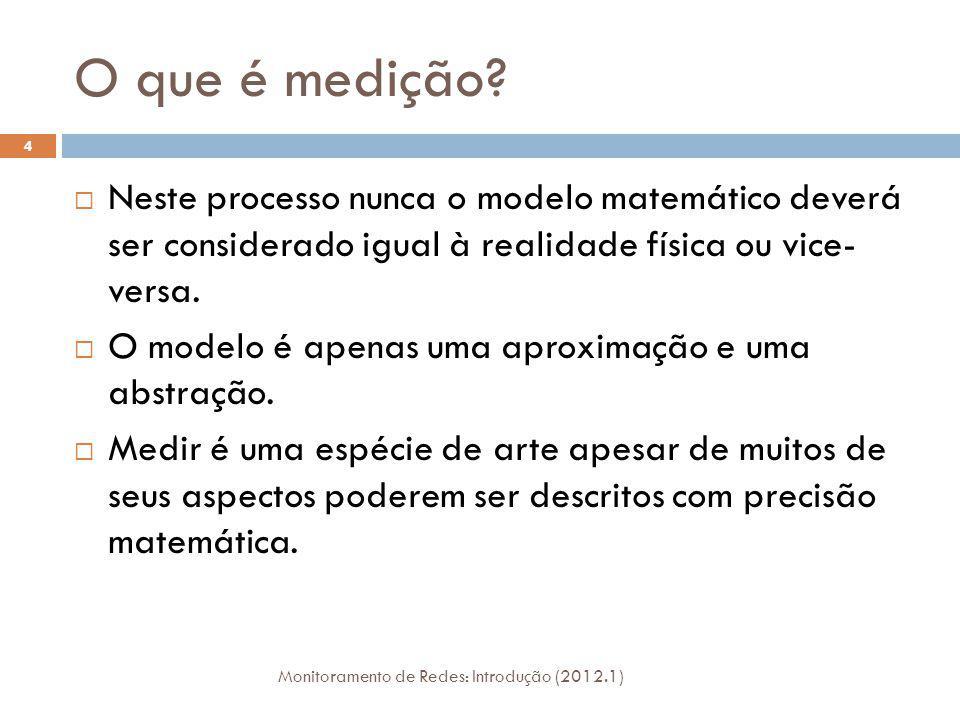 O que é medição? Monitoramento de Redes: Introdução (2012.1) 4 Neste processo nunca o modelo matemático deverá ser considerado igual à realidade físic