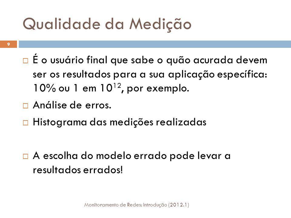 Qualidade da Medição Monitoramento de Redes: Introdução (2012.1) 9 É o usuário final que sabe o quão acurada devem ser os resultados para a sua aplica