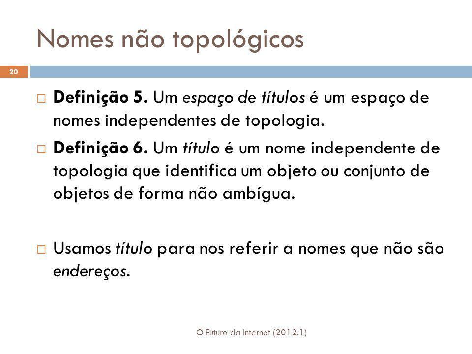 Nomes não topológicos O Futuro da Internet (2012.1) 20 Definição 5. Um espaço de títulos é um espaço de nomes independentes de topologia. Definição 6.
