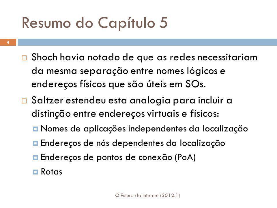 Resumo do Capítulo 5 O Futuro da Internet (2012.1) 4 Shoch havia notado de que as redes necessitariam da mesma separação entre nomes lógicos e endereç