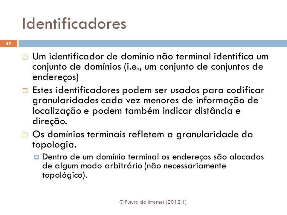 Identificadores O Futuro da Internet (2012.1) 45 Um identificador de domínio não terminal identifica um conjunto de domínios (i.e., um conjunto de con