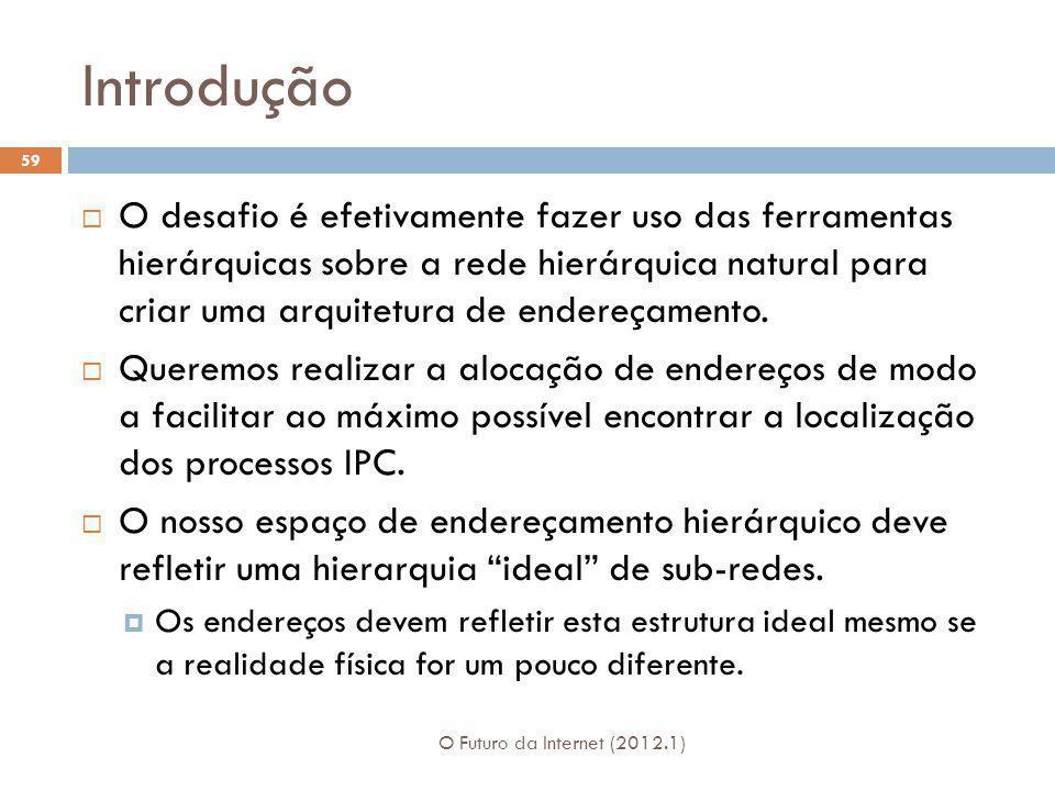 Introdução O Futuro da Internet (2012.1) 59 O desafio é efetivamente fazer uso das ferramentas hierárquicas sobre a rede hierárquica natural para cria