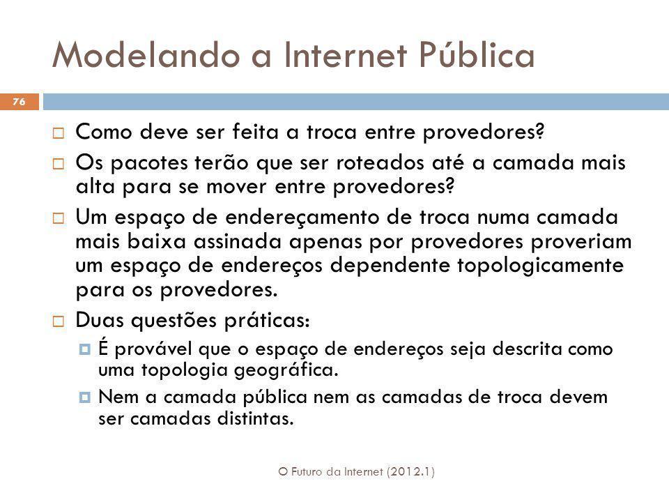 Modelando a Internet Pública O Futuro da Internet (2012.1) 76 Como deve ser feita a troca entre provedores? Os pacotes terão que ser roteados até a ca
