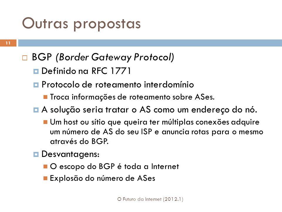 Outras propostas O Futuro da Internet (2012.1) 11 BGP (Border Gateway Protocol) Definido na RFC 1771 Protocolo de roteamento interdomínio Troca informações de roteamento sobre ASes.