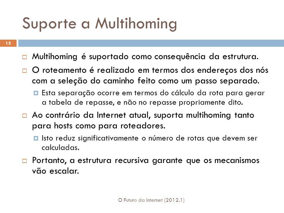 Suporte a Multihoming O Futuro da Internet (2012.1) 13 Multihoming é suportado como consequência da estrutura.