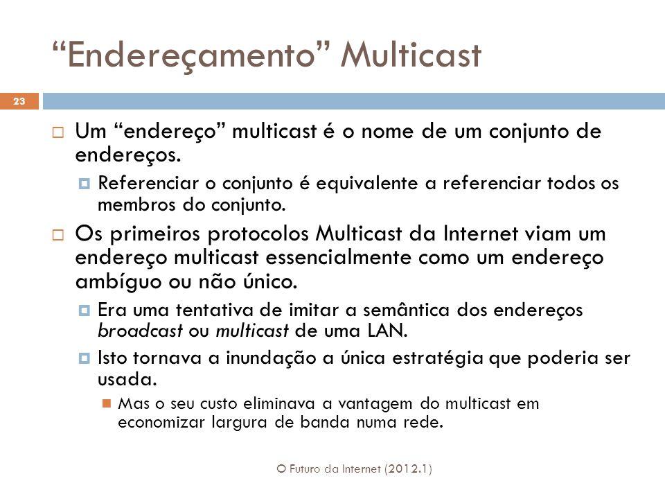 Endereçamento Multicast O Futuro da Internet (2012.1) 23 Um endereço multicast é o nome de um conjunto de endereços.