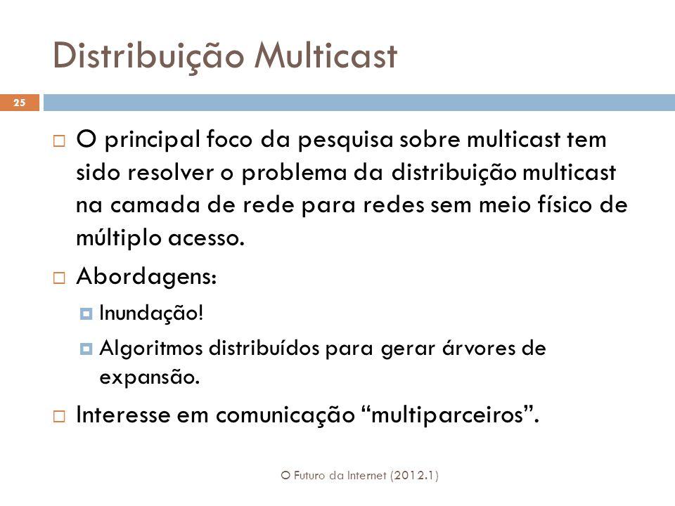 Distribuição Multicast O Futuro da Internet (2012.1) 25 O principal foco da pesquisa sobre multicast tem sido resolver o problema da distribuição multicast na camada de rede para redes sem meio físico de múltiplo acesso.