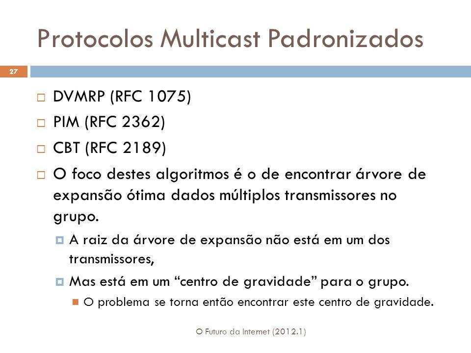 Protocolos Multicast Padronizados O Futuro da Internet (2012.1) 27 DVMRP (RFC 1075) PIM (RFC 2362) CBT (RFC 2189) O foco destes algoritmos é o de encontrar árvore de expansão ótima dados múltiplos transmissores no grupo.