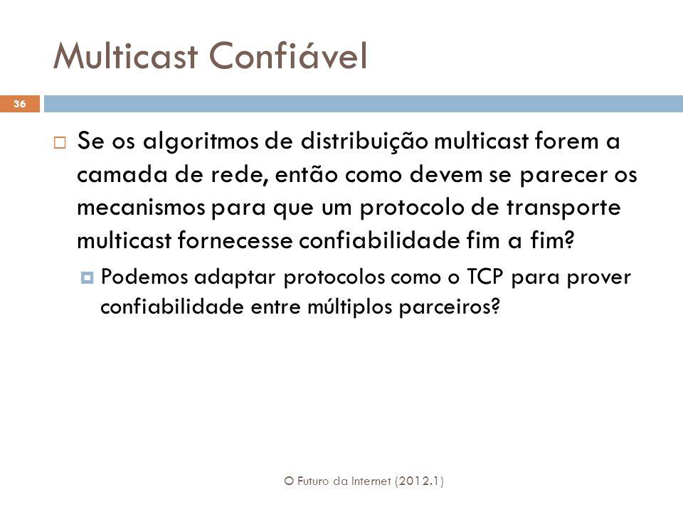 Multicast Confiável O Futuro da Internet (2012.1) 36 Se os algoritmos de distribuição multicast forem a camada de rede, então como devem se parecer os mecanismos para que um protocolo de transporte multicast fornecesse confiabilidade fim a fim.