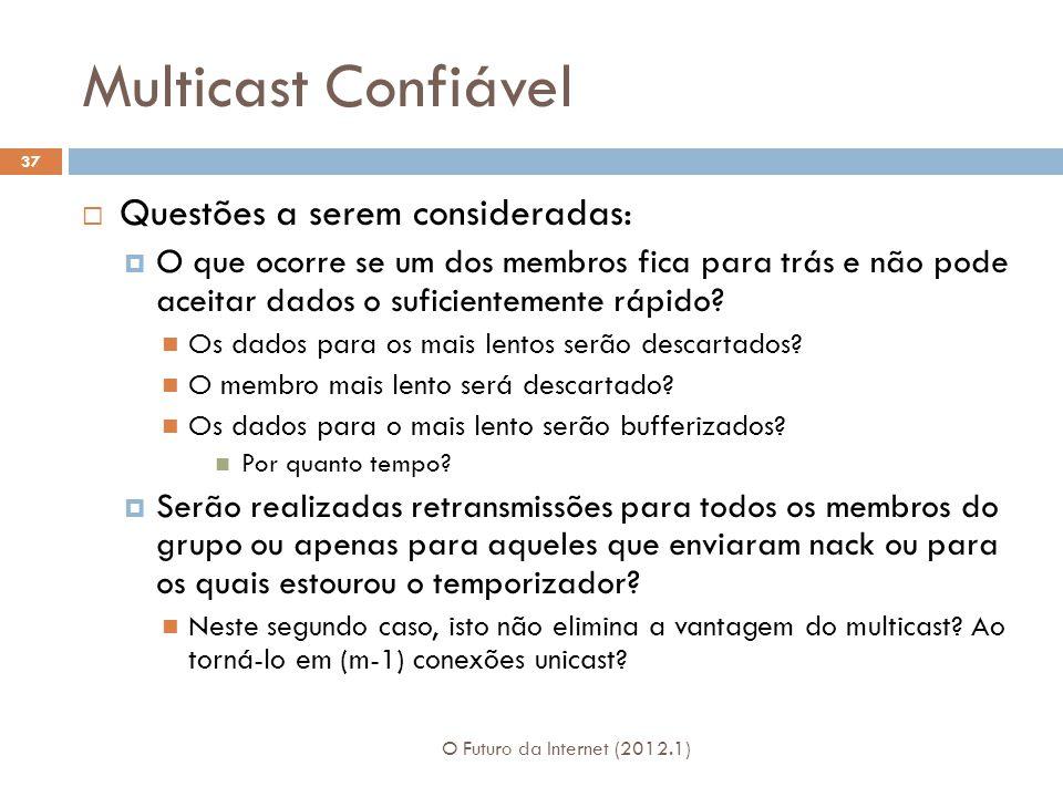 Multicast Confiável O Futuro da Internet (2012.1) 37 Questões a serem consideradas: O que ocorre se um dos membros fica para trás e não pode aceitar dados o suficientemente rápido.