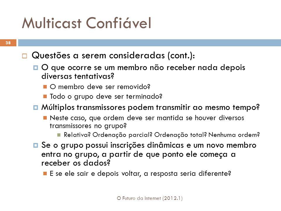Multicast Confiável O Futuro da Internet (2012.1) 38 Questões a serem consideradas (cont.): O que ocorre se um membro não receber nada depois diversas tentativas.
