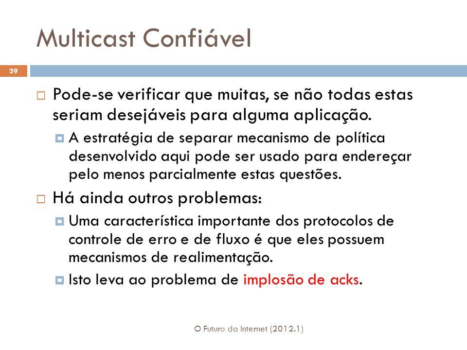 Multicast Confiável O Futuro da Internet (2012.1) 39 Pode-se verificar que muitas, se não todas estas seriam desejáveis para alguma aplicação.