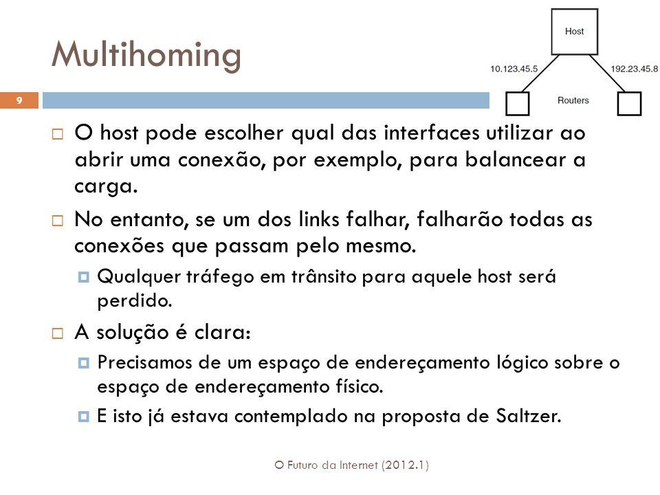 Multihoming O Futuro da Internet (2012.1) 9 O host pode escolher qual das interfaces utilizar ao abrir uma conexão, por exemplo, para balancear a carga.