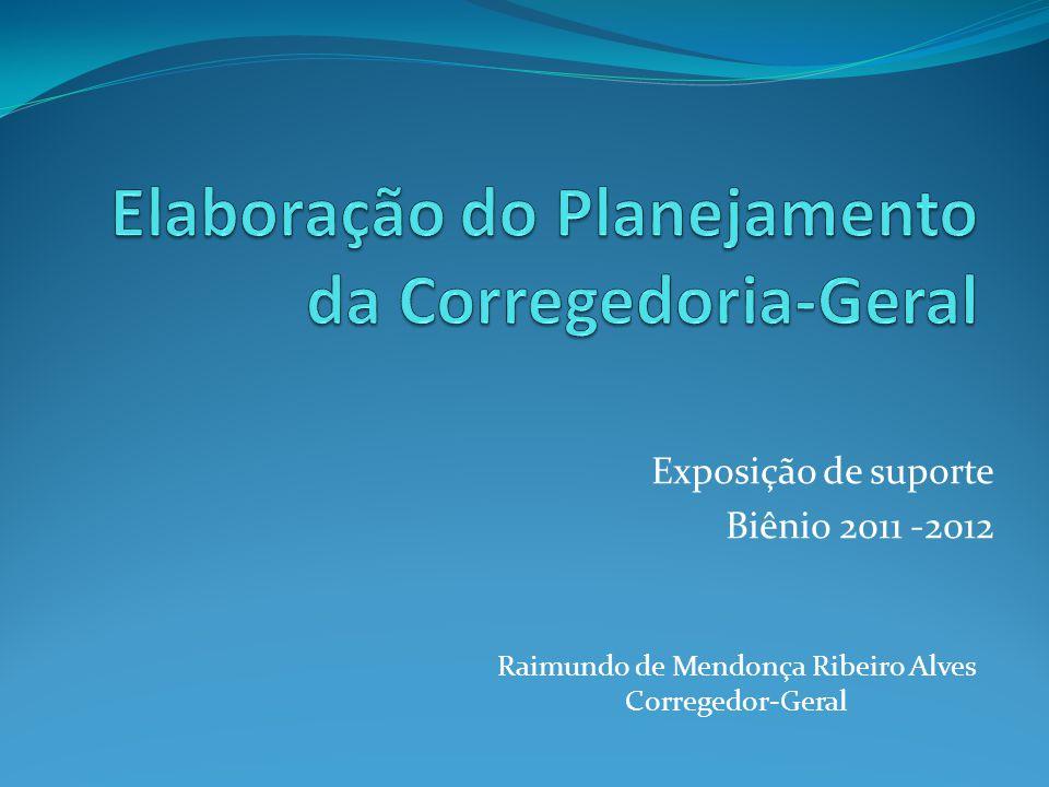 Exposição de suporte Biênio 2011 -2012 Raimundo de Mendonça Ribeiro Alves Corregedor-Geral
