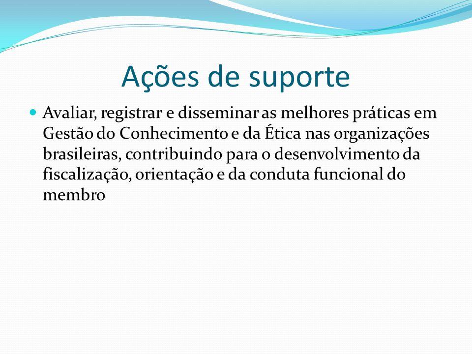 Avaliar, registrar e disseminar as melhores práticas em Gestão do Conhecimento e da Ética nas organizações brasileiras, contribuindo para o desenvolvimento da fiscalização, orientação e da conduta funcional do membro Ações de suporte