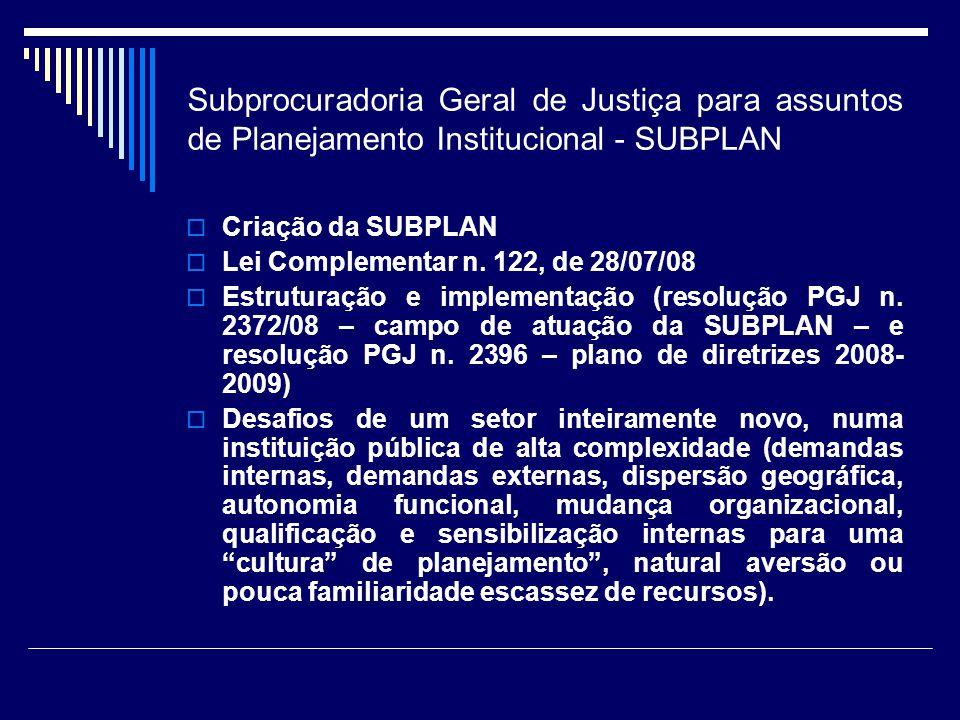 Subprocuradoria Geral de Justiça para assuntos de Planejamento Institucional - SUBPLAN Criação da SUBPLAN Lei Complementar n. 122, de 28/07/08 Estrutu
