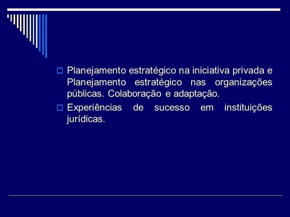 Planejamento estratégico na iniciativa privada e Planejamento estratégico nas organizações públicas. Colaboração e adaptação. Experiências de sucesso
