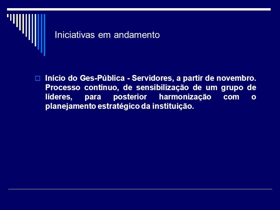 Iniciativas em andamento Início do Ges-Pública - Servidores, a partir de novembro. Processo contínuo, de sensibilização de um grupo de líderes, para p