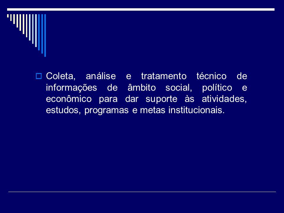 Coleta, análise e tratamento técnico de informações de âmbito social, político e econômico para dar suporte às atividades, estudos, programas e metas