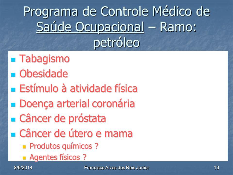 8/6/2014Francisco Alves dos Reis Junior13 Programa de Controle Médico de Saúde Ocupacional – Ramo: petróleo Tabagismo Tabagismo Obesidade Obesidade Es