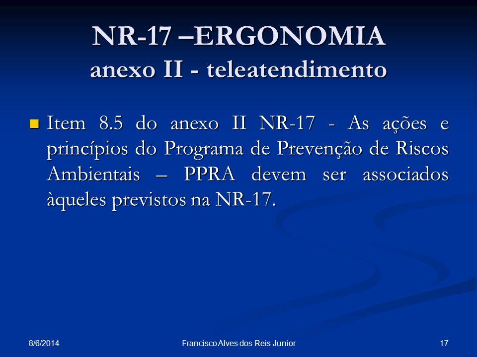 8/6/2014 17Francisco Alves dos Reis Junior NR-17 –ERGONOMIA anexo II - teleatendimento Item 8.5 do anexo II NR-17 - As ações e princípios do Programa