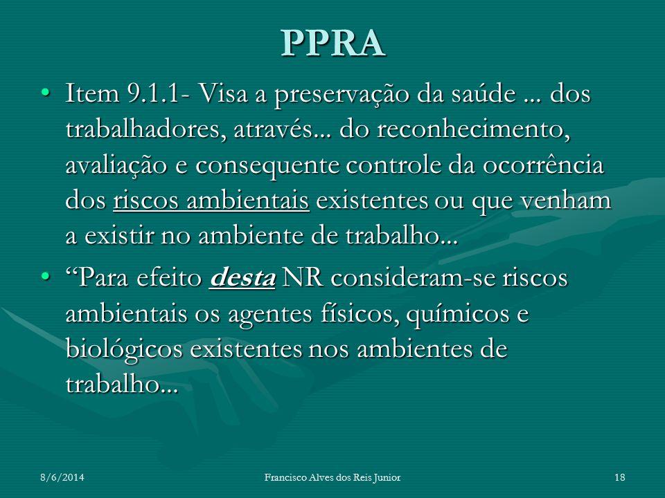 8/6/2014Francisco Alves dos Reis Junior18 PPRA Item 9.1.1- Visa a preservação da saúde... dos trabalhadores, através... do reconhecimento, avaliação e