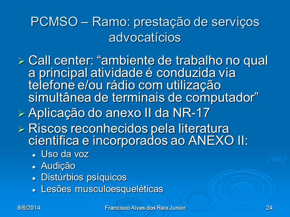 8/6/2014Francisco Alves dos Reis Junior24 PCMSO – Ramo: prestação de serviços advocatícios Call center: ambiente de trabalho no qual a principal ativi