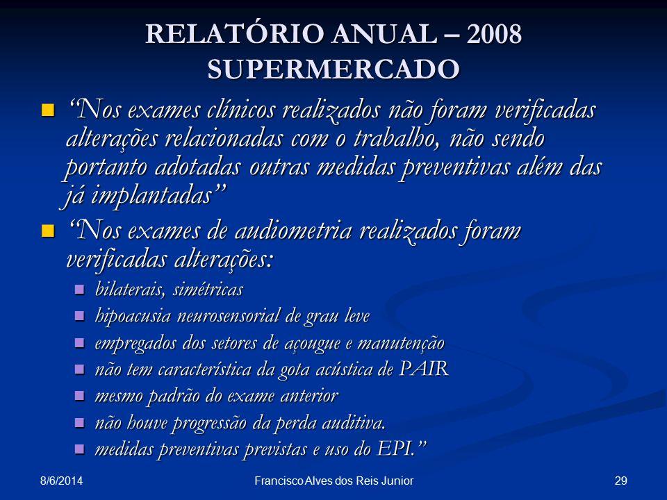 8/6/2014 29Francisco Alves dos Reis Junior RELATÓRIO ANUAL – 2008 SUPERMERCADO Nos exames clínicos realizados não foram verificadas alterações relacio