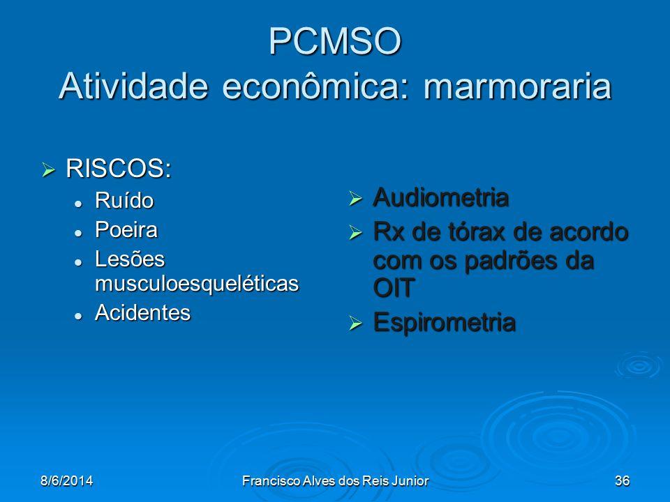 8/6/2014Francisco Alves dos Reis Junior36 PCMSO Atividade econômica: marmoraria RISCOS: RISCOS: Ruído Ruído Poeira Poeira Lesões musculoesqueléticas L