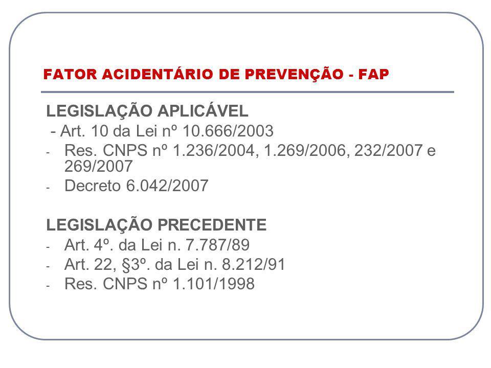 FATOR ACIDENTÁRIO DE PREVENÇÃO - FAP LEGISLAÇÃO APLICÁVEL - Art. 10 da Lei nº 10.666/2003 - Res. CNPS nº 1.236/2004, 1.269/2006, 232/2007 e 269/2007 -