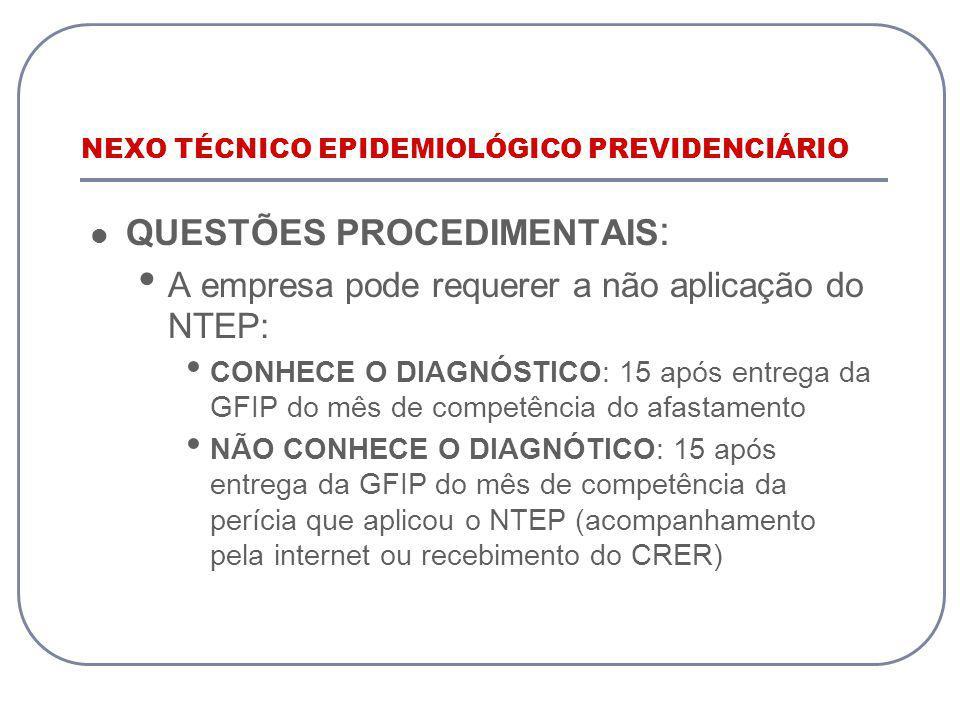 NEXO TÉCNICO EPIDEMIOLÓGICO PREVIDENCIÁRIO QUESTÕES PROCEDIMENTAIS : A empresa pode requerer a não aplicação do NTEP: CONHECE O DIAGNÓSTICO: 15 após e