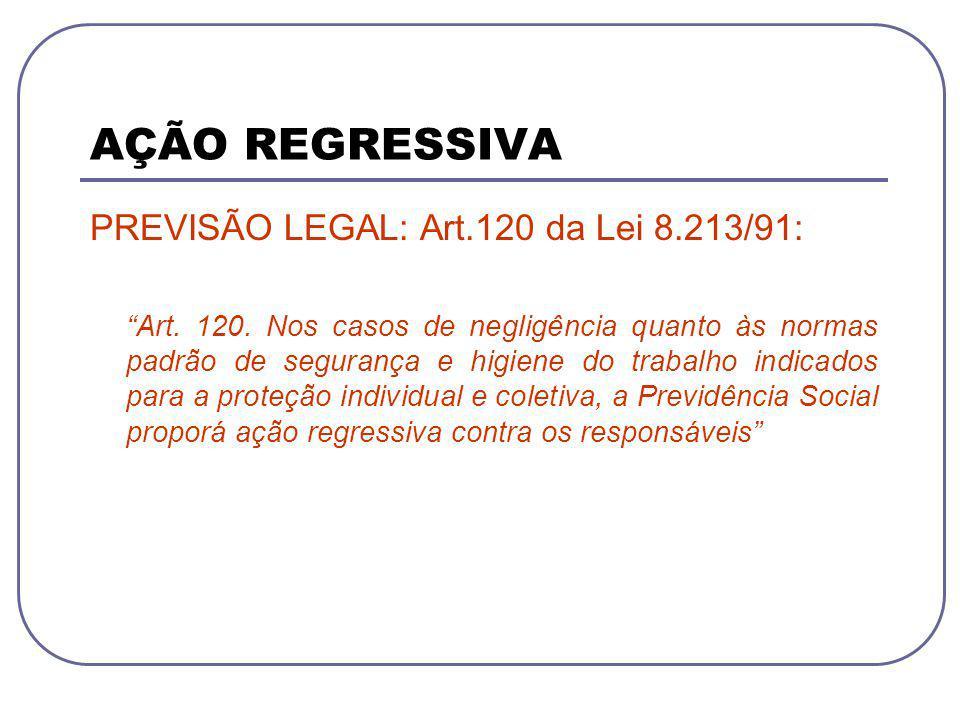 PREVISÃO LEGAL: Art.120 da Lei 8.213/91: Art. 120. Nos casos de negligência quanto às normas padrão de segurança e higiene do trabalho indicados para