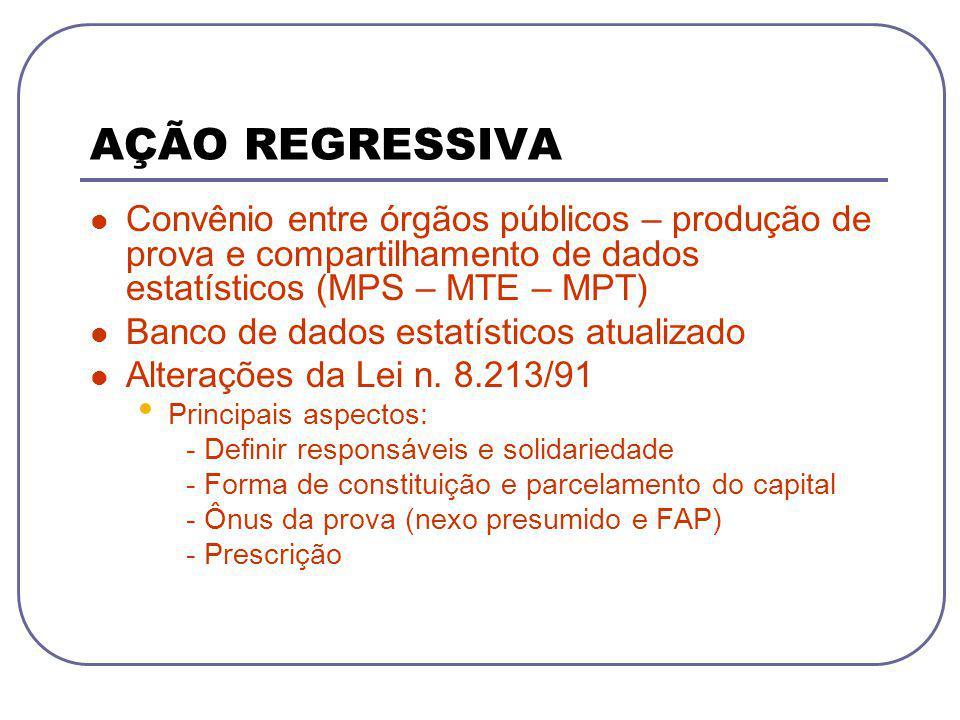AÇÃO REGRESSIVA Convênio entre órgãos públicos – produção de prova e compartilhamento de dados estatísticos (MPS – MTE – MPT) Banco de dados estatísti
