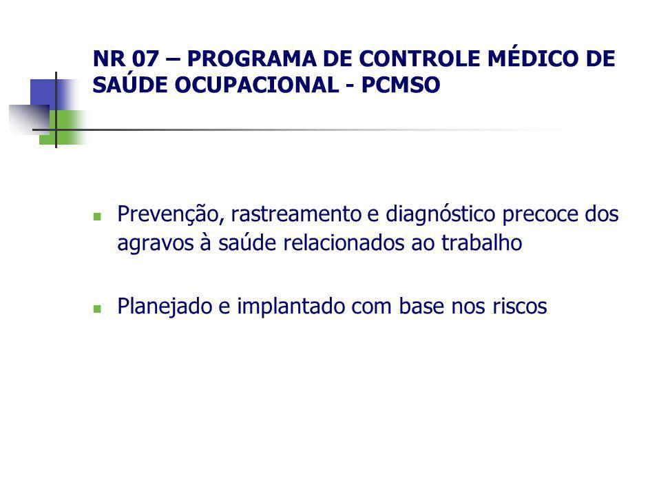 NR 07 – PROGRAMA DE CONTROLE MÉDICO DE SAÚDE OCUPACIONAL - PCMSO Prevenção, rastreamento e diagnóstico precoce dos agravos à saúde relacionados ao tra
