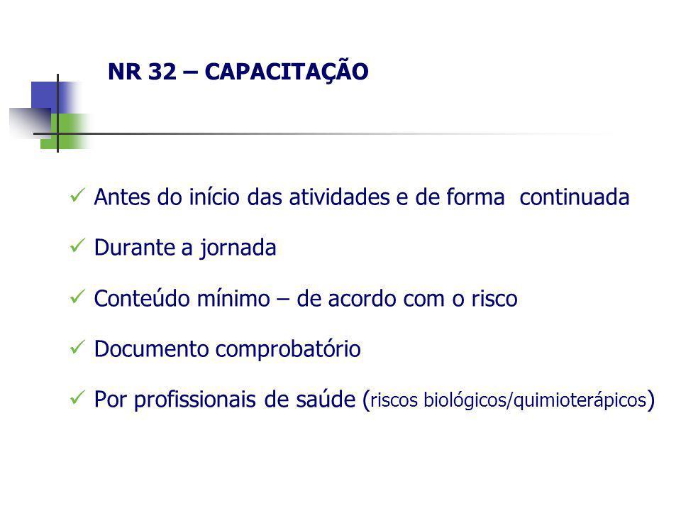 NR 32 – CAPACITAÇÃO Antes do início das atividades e de forma continuada Durante a jornada Conteúdo mínimo – de acordo com o risco Documento comprobat